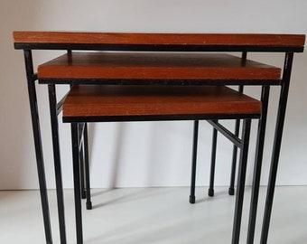 Nesting tables wood metal Pastoe style