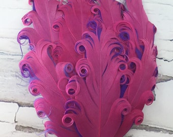 One Curly Nagorie Feather Pad, Feather Pad, Bridal Feather, Curly Feather Pad, Hot Pink with Purple