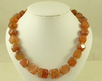 Antique Banded Agate Carnelian Faceted Cube Bead Necklace Large Graduated