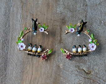 Bird - baby birds enamel earrings
