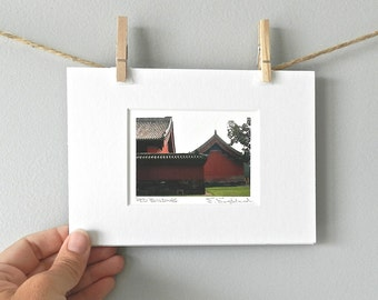 Red Barn Asian Style, Red Buildings Print, Landscape Photography, Chinese Architecture, Asian Decor, Asian Art, Beijing China, Matted Art