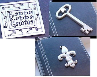 Destash -- Kappa Kappa Gamma Pewter Key, Fleur de Lis, and Name Plate Decorative Embellishments