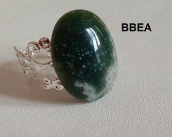 Ring Moss Agate, diabetes, stone 15x20mm setting adjustable 19mm.