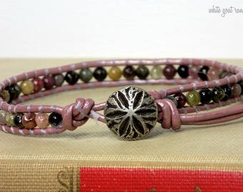 Leather Anklet, Tourmaline, Purple Leather, Beaded, Kewelry, Sand dollar button