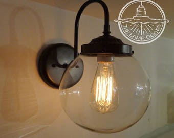 Biddeford. Wall SCONCE Large Clear Globe - Lighting Fixture