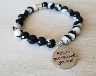 high school graduation gift for her, mantra bracelet, inspirational bracelet, affirmation jewelry, quote bracelet, believe you can and you