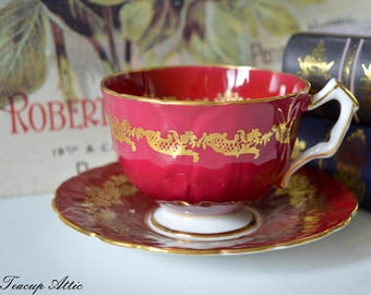 Aynsley Red And Gold Embossed Teacup and Saucer Set, English Bone China Tea Cup Set,  ca. 1960-1972