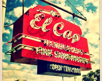 "El Cap Restaurant Sign St. Petersburg, Florida Photo Print - 8"" x 8"""