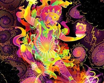 Trippy Wall Art Tapestry Psychedelic Backdrop  Neon Blacklight  Fluorescent UV decorations Psychonaut Acid Yggdrasil Psytrance Hayagriva