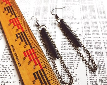 black and brass chain earrings - howlite spike earrings