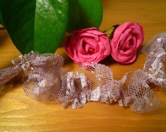 Small lace rustle stretch Purple 2 cm wide