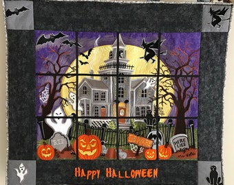 Embroidery Panel Haunted House Wall Hanging