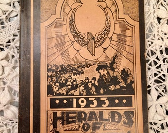 vintage hymn book, 1932, Heralds of Heaven, revival, paper back song book, sacred music