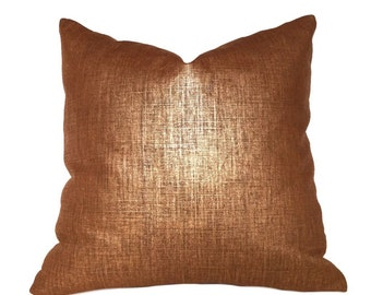 """Metallic Copper Penny Glazed Linen Pillow Cover, Fits Lumbar 16"""" 18"""" 20"""" 22"""" 24"""" Cushion Inserts"""
