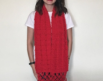 Chunky Knit Scarf, Red Scarf, Hand Knit Scarf, Long Chunky Knit Scarf, Knitted Scarves, Macrame Scarf, Great Gift for Vegans, 70's Scarf