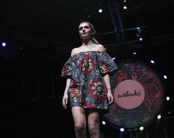 African inspired Ankara AMARA Red Flower Dress