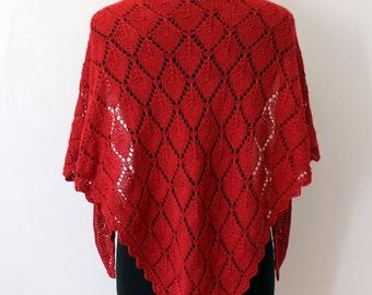 Hand knit red lace shawl in alpaca silk