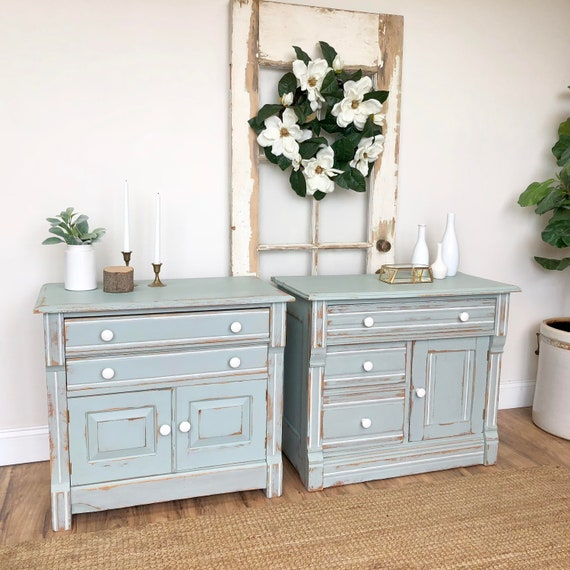 Farmhouse Nightstands - Antique Washstands - Country Cottage Furniture - Distressed Cabinets - Large Nightstands - Painted End Tables
