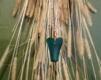 Teal Blue Glass Necklace