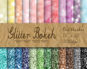 Glitter Bokeh Digital Paper - Glitter Textures - Glitter Backgrounds -  24 Colors - 12in x 12in - Commercial Use -  INSTANT  DOWNLOAD