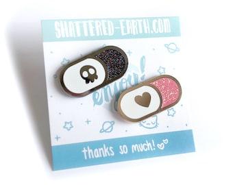 Love Pill Pin - Death Pill Enamel Pin - Glitter Poison Pill - Pill Enamel Pins - Menhara cute pills pins