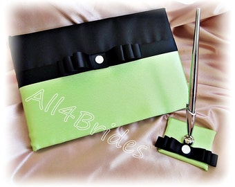 Neon green and black wedding guest book and pen set.  Black and green wedding decorations.