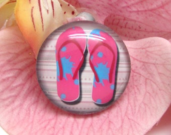 2 cabochons 12 mm glass flip flops Beach 3-12 mm