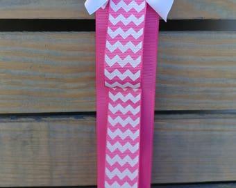 Pink Chevron Ribbon Headband Holder