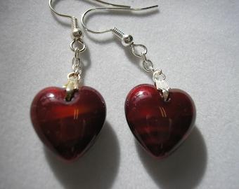Earring - Puffed Czech Glass Heart - VERY Red