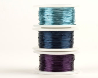 Blue and Violet Craft Wires , 28 gauge Extra long Craft Wire spools 360 feet,  Baby Blue Navy Blue and Deep purple, non tarnish wires