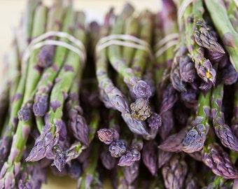 Food Photography, Kitchen Art, Cafe Decor, Purple Wall Art, Farmers Market Photography, Vegetable Prints, Asparagus at the Farmers Market