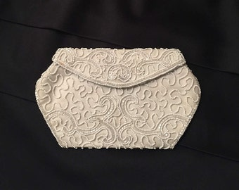 Vintage 50's White Beaded Bridal Clutch