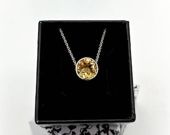 Sterling Sterling Silver and Citrine Tree Of Life Necklace