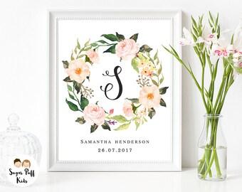Personqalized Monogram Print , Floral Wreath Wall Art, Nursery Monogram Print, Monogram Floral Wreath Art Print, Personalized Monogram Print
