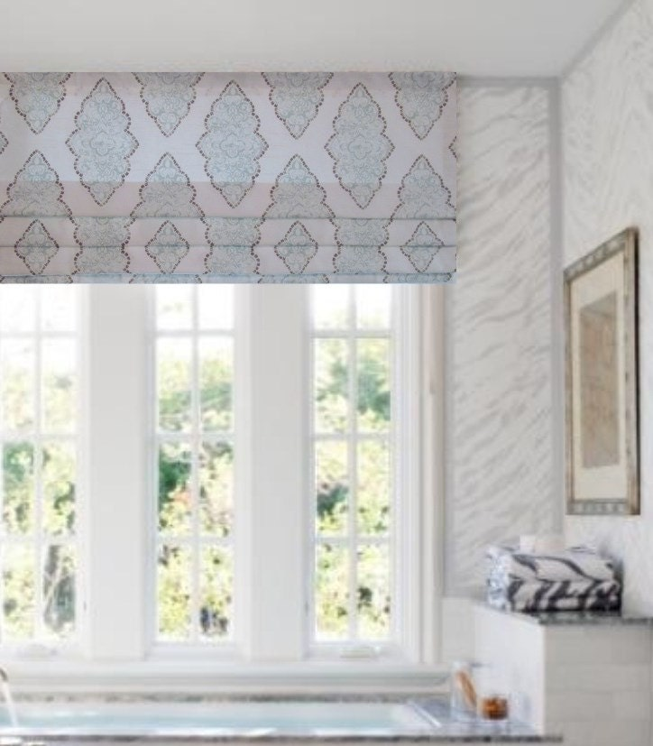 Lovely Faux Roman Shade Lined Mock Valance Snowy Blue Taupe White TS94