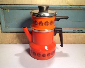 Vintage enameled teapot Asta orange
