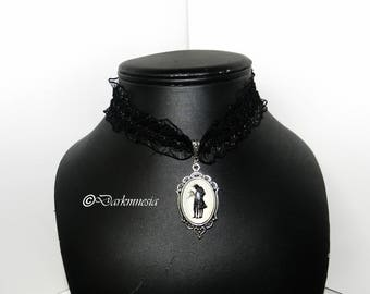 Necklace, lace, black, Edward Scissorhands, Tim Burton, crew neck, gothic, goth