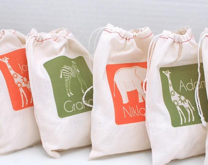 Safari Party, Custom Birthday Party Gift Bags, Set of 6
