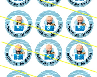 "Boss Baby cookie 2""  circles  cupcake toppers stickers"