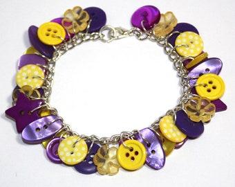 Summer - Yellow and Purple button charm bracelet Button Jewellery Button Jewelry UK Handmade Free UK Shipping