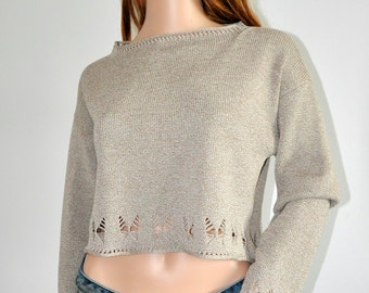 Cropped sweater Light brown Trendy Beige White cotton pullover Women  loose knit boho jumper Ready to Ship Womens wear M/L