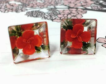 Vintage Red Reverse Carved Lucite Flower Screw Back Earrings 1950s Mid Century