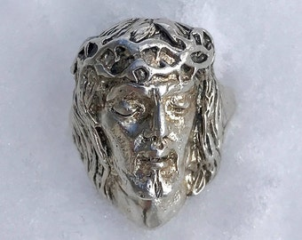 Vintage Sterling Silver Jesus Head Ring Size 7 Savior Lord Crown of Thorns Religious Ring