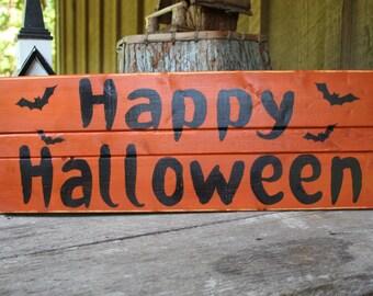 Happy Halloween Wood Sign Pallet Bats Spooky Porch Decor Rustic Farmhouse Party