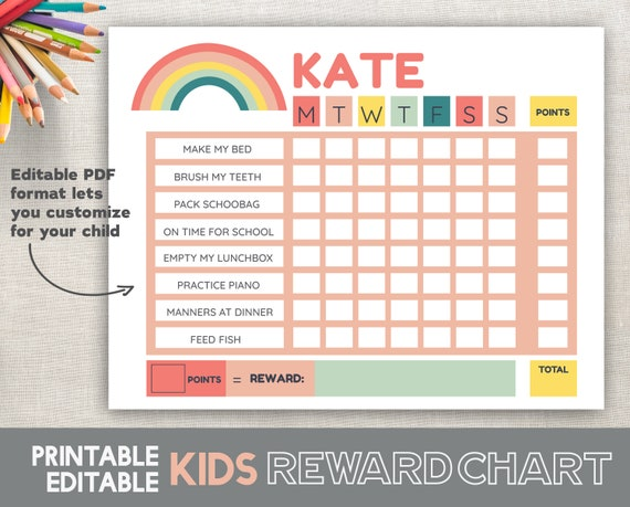picture relating to Printable Chore Chart for 7 Year Old known as Printable Advantage Charts For Young children 6 towards 12 Many years Previous Growing