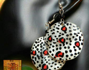 Black, white and red painted earrings