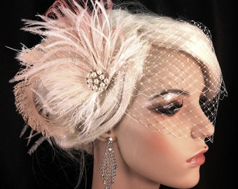 Fascinator, Bridal Feather Fascinator, Bridal Headpiece, Wedding Veil, Wedding Fascinator, Feather Fascinator, Ivory and Flamingo Pink