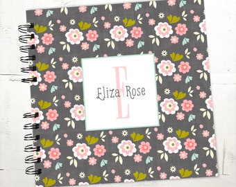 Baby Book |  Baby Memory Album | Pink and Grey Floral Personalized Wire Bound Baby Memory Book Keepsake Album