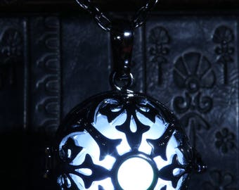 Glowing necklace pendant, locket with white glowing LED orb and white opal stone
