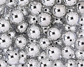 20mm - Platinum Metallic Silver Gumball Beads, Chrome Silver Beads, Mirror Beads, Bubblegum Beads, Bubble Gum Beads, 3MM Hole